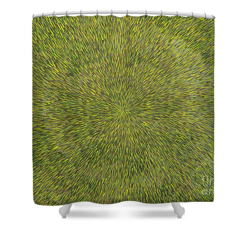Abstract Shower Curtain featuring the painting Radiation With Green With Yellow by Dean Triolo