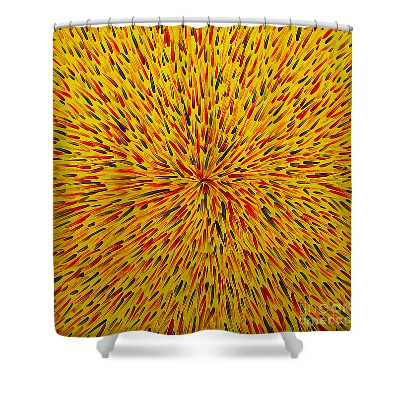 Abstract Shower Curtain featuring the painting Radiation Yellow by Dean Triolo