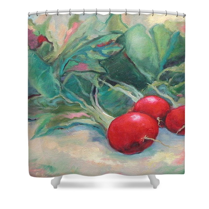 Radishes Shower Curtain featuring the painting Radishes by Ginger Concepcion