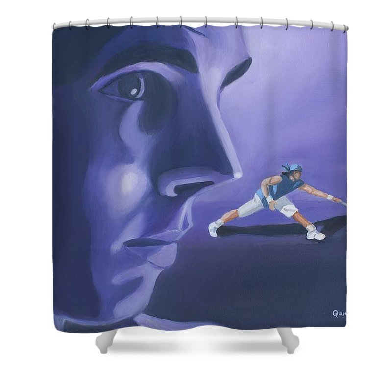 Raphael Shower Curtain featuring the painting Rafael Nadal by Quwatha Valentine