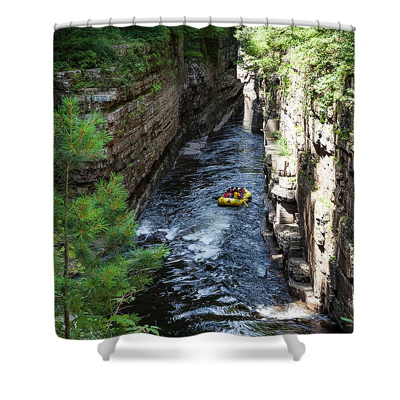 Travel Photography Shower Curtain featuring the photograph Rafting In A Gorge by Alex Kotlik