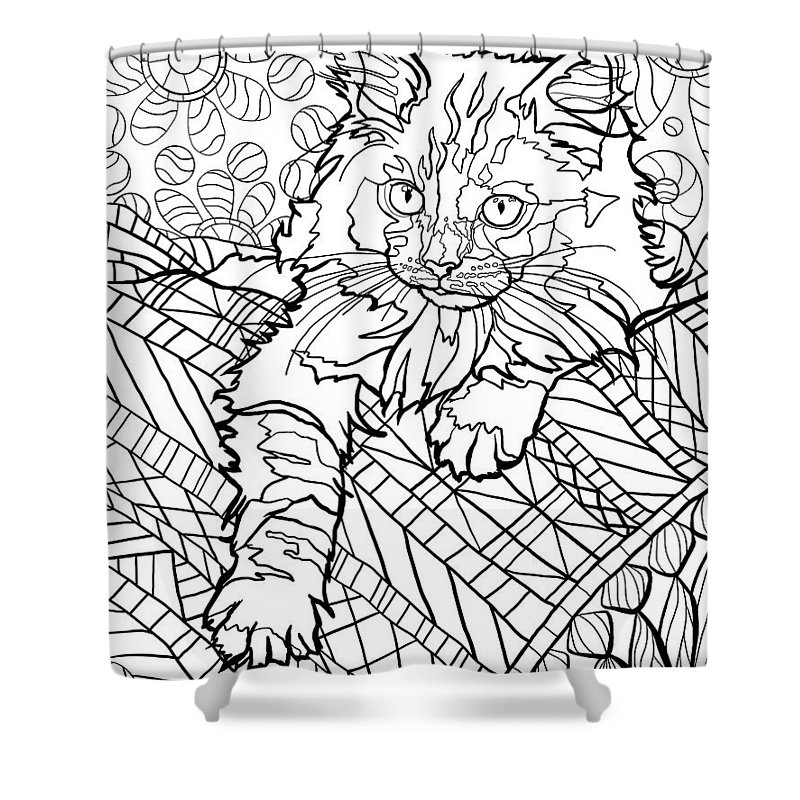 Cat Shower Curtain featuring the digital art Ragdoll Kitten - Coloring Image by Chantal Candon