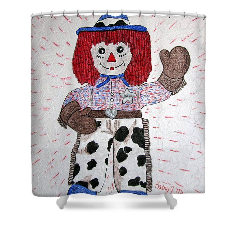 Raggedy Andy Shower Curtain featuring the painting Raggedy Andy Cowboy by Kathy Marrs Chandler