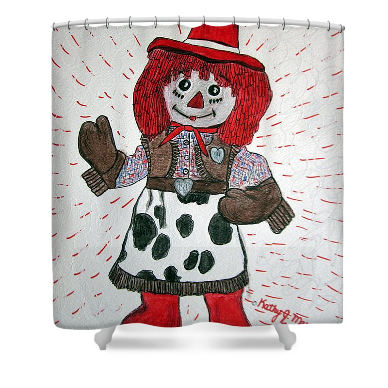 Raggedy Ann Shower Curtain featuring the painting Raggedy Ann Cowgirl by Kathy Marrs Chandler