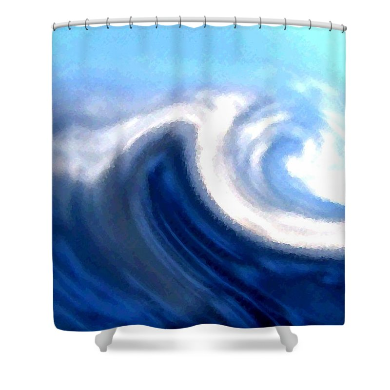 Abstract Shower Curtain featuring the digital art Raging Sea by Will Borden