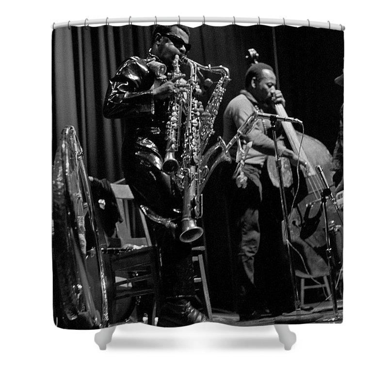 Rahsaan Roland Kirk Shower Curtain featuring the photograph Rahsaan Roland Kirk 1 by Lee Santa