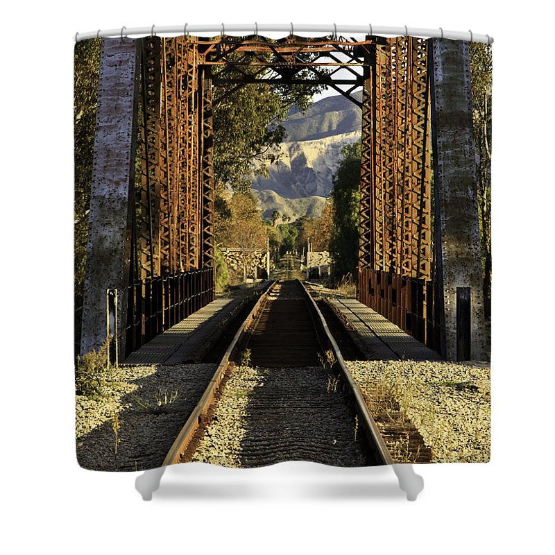 Railroad Shower Curtain featuring the photograph Railroad Trestle by Tim Hauf