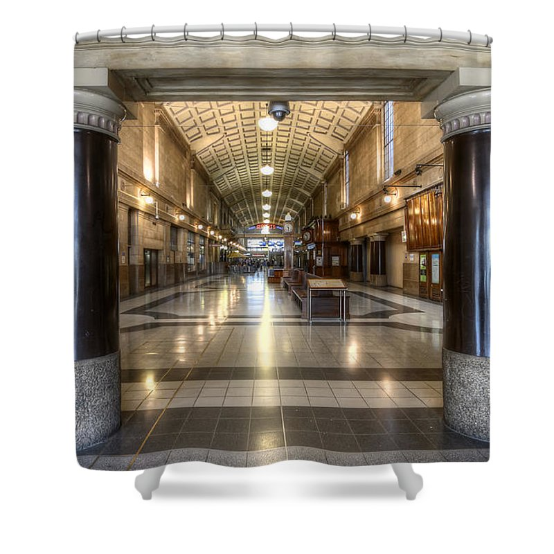 Railway Shower Curtain featuring the photograph Railway Hall by Wayne Sherriff
