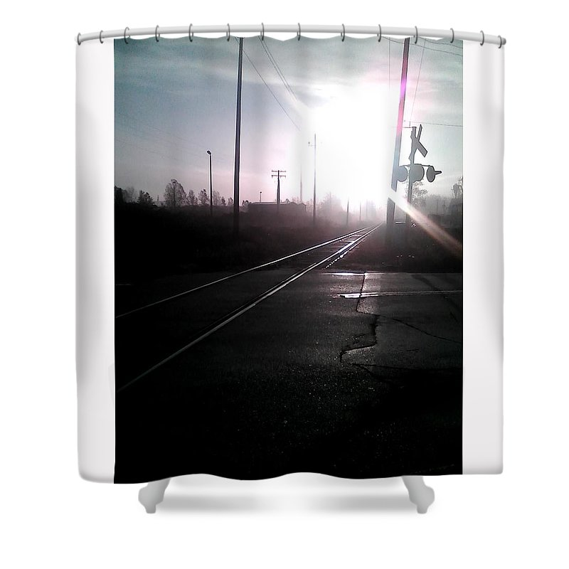 Sunrise Shower Curtain featuring the photograph Railway Morning by Abby Humphries