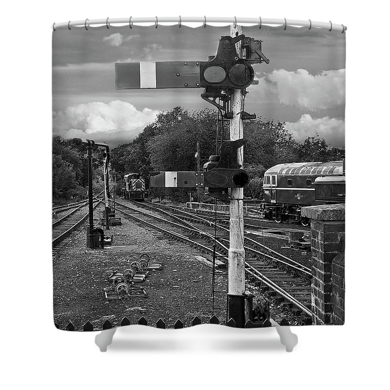 Railway signals shower curtain featuring the photograph railway signals in black and white by gill billington