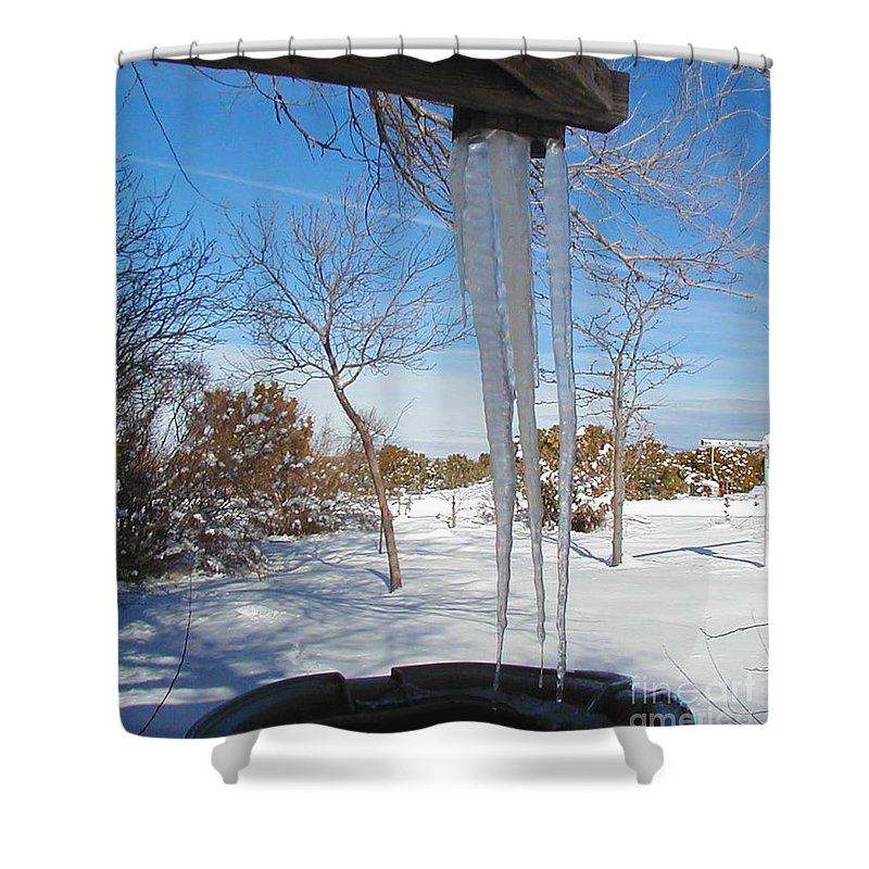Icicle Shower Curtain featuring the photograph Rain Barrel Icicle by Diana Dearen