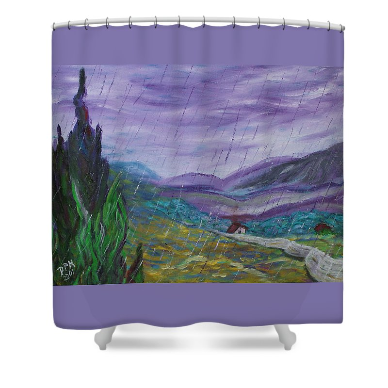 Rain Shower Curtain featuring the painting Rain by David McGhee