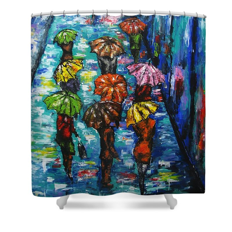 Rain Shower Curtain featuring the painting Rain Fantasy Acrylic Painting by Natalja Picugina