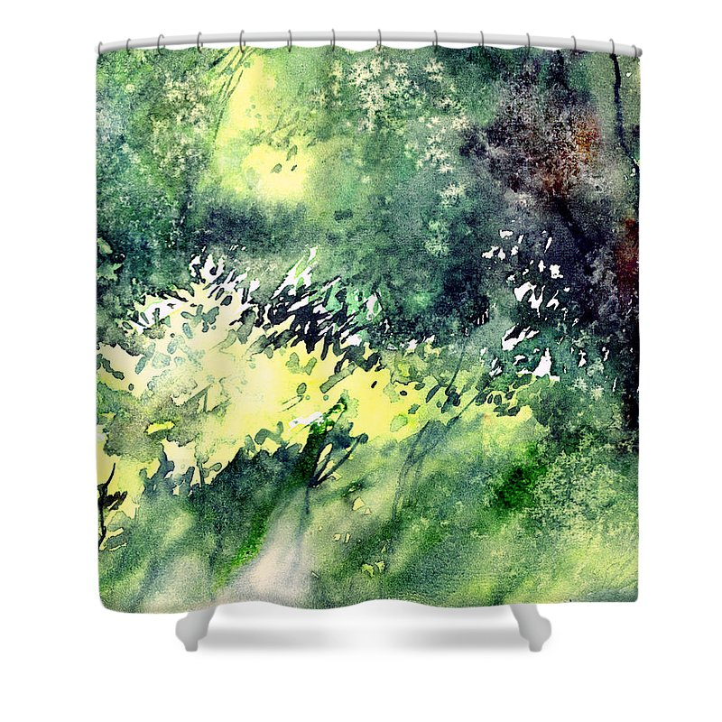 Landscape Watercolor Nature Greenery Rain Shower Curtain featuring the painting Rain Gloss by Anil Nene