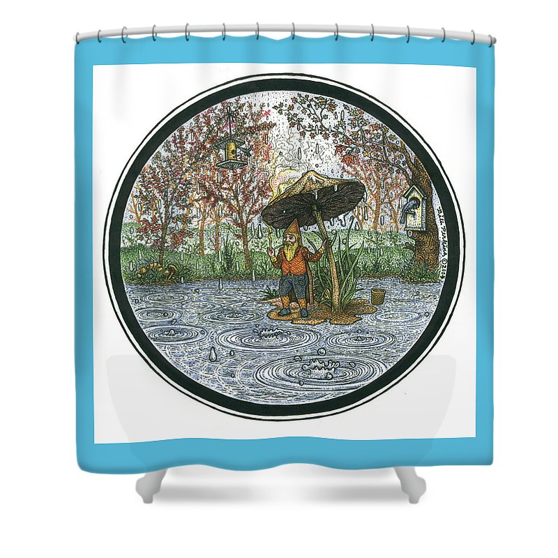 Rain Shower Curtain featuring the drawing Rain Gnome Rain Circle by Bill Perkins