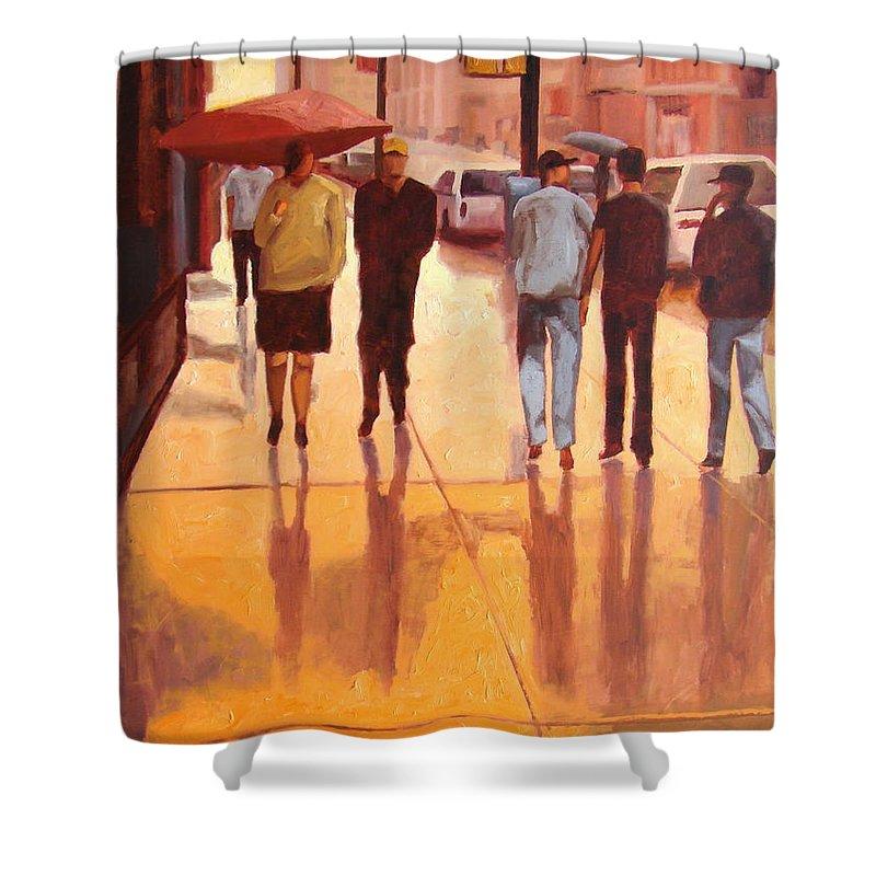 Manhattan Shower Curtain featuring the painting Rain In Manhattan Number Eighteen by Tate Hamilton