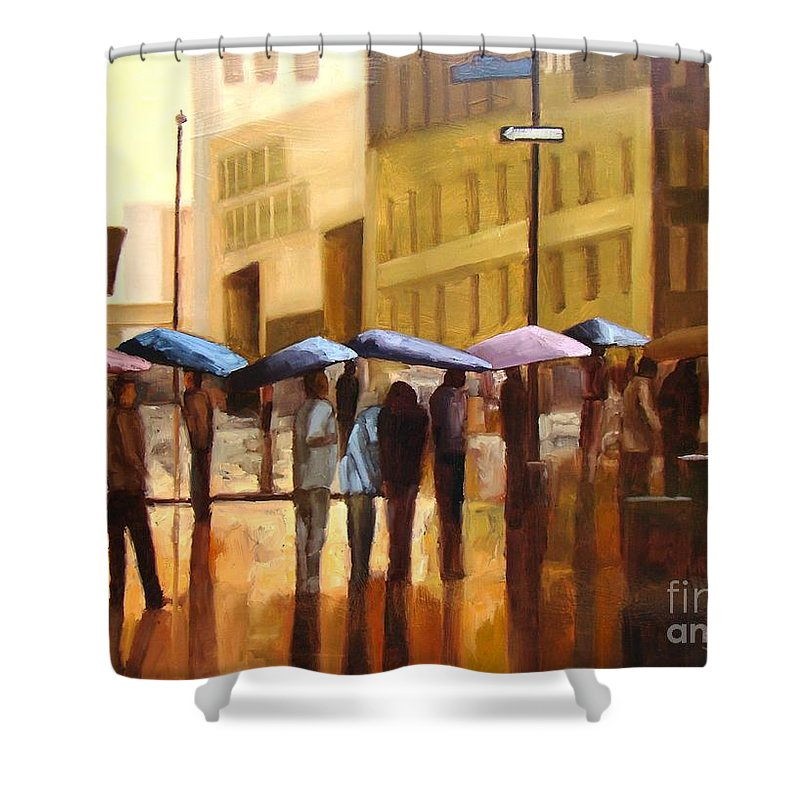 Cityscape Shower Curtain featuring the painting Rain In Manhattan Number Seventeen by Tate Hamilton