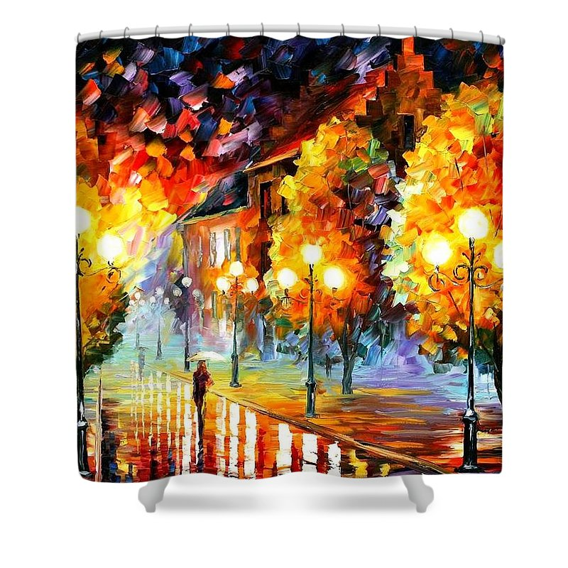 Afremov Shower Curtain featuring the painting Rain In The Night City by Leonid Afremov