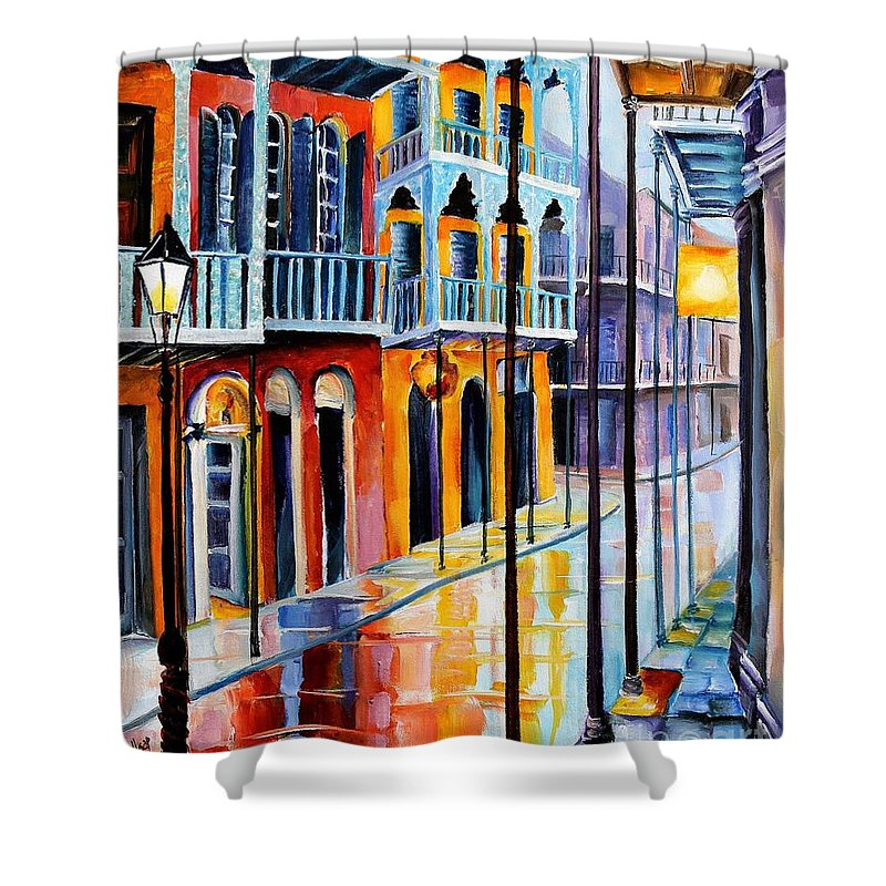 New Orleans Shower Curtain featuring the painting Rain On Royal Street by Diane Millsap