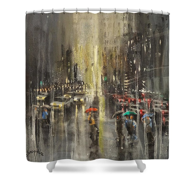 Milwaukee Shower Curtain featuring the painting Rain On Wisconsin Avenue by Tom Shropshire