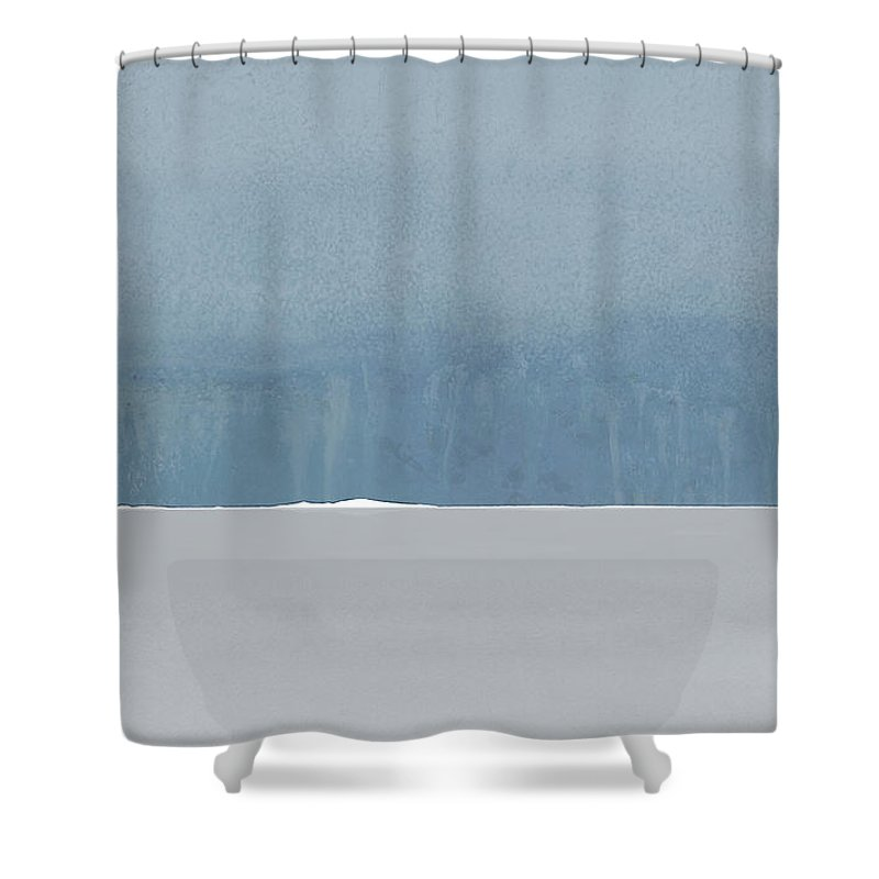 Blue Shower Curtain featuring the painting Rain Over Sete As Seen From Marseillan On Tuesday by Jack Hall