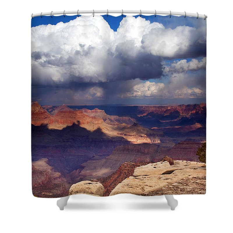 Grand Canyon Shower Curtain featuring the photograph Rain Over The Grand Canyon by Mike Dawson