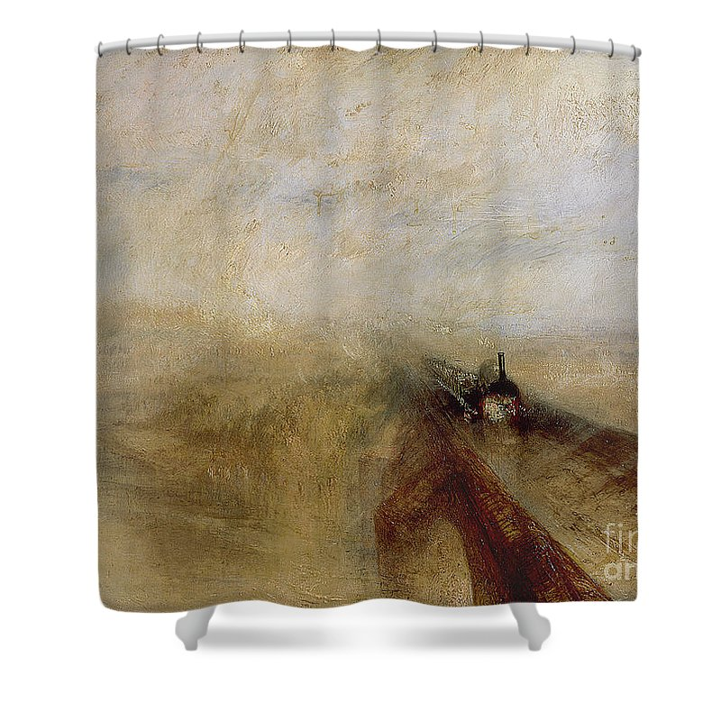 Rain Shower Curtain Featuring The Painting Steam And Speed By Joseph Mallord William Turner