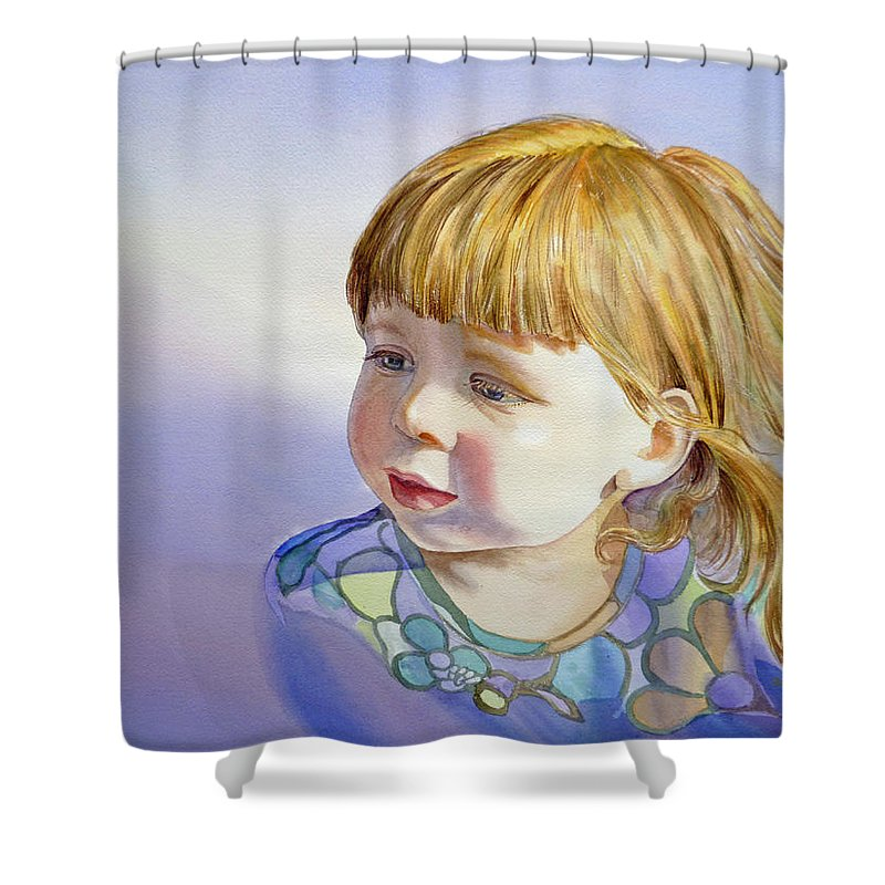 Girl Portrait Shower Curtain featuring the painting Rainbow Breeze Girl Portrait by Irina Sztukowski