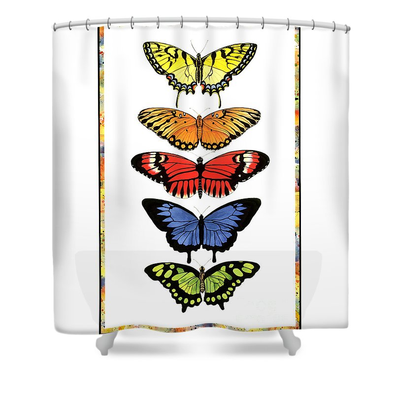 Butterflies Shower Curtain featuring the painting Rainbow Butterflies by Lucy Arnold