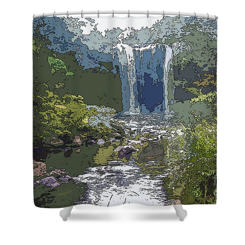Rainbow Falls Shower Curtain featuring the digital art Rainbow Falls Green by Anthony Forster
