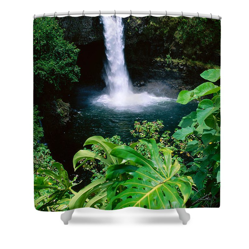 Afternoon Shower Curtain featuring the photograph Rainbow Falls by Peter French - Printscapes