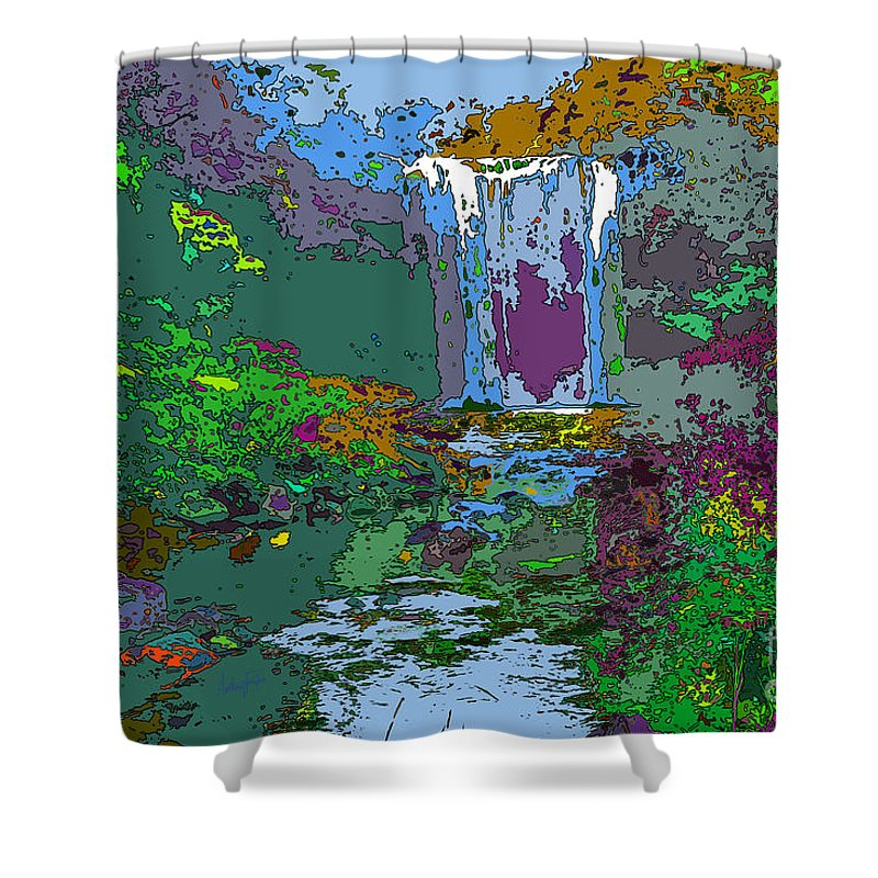 Digital Art Shower Curtain featuring the digital art Rainbow Falls Purple by Anthony Forster