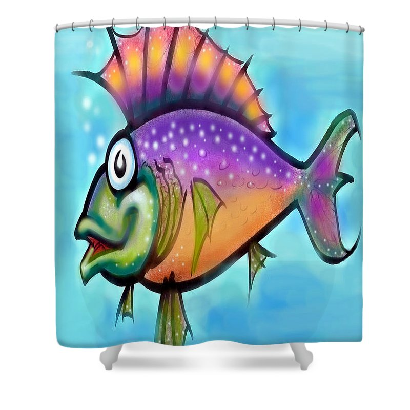 Fish Shower Curtain featuring the greeting card Rainbow Fish by Kevin Middleton