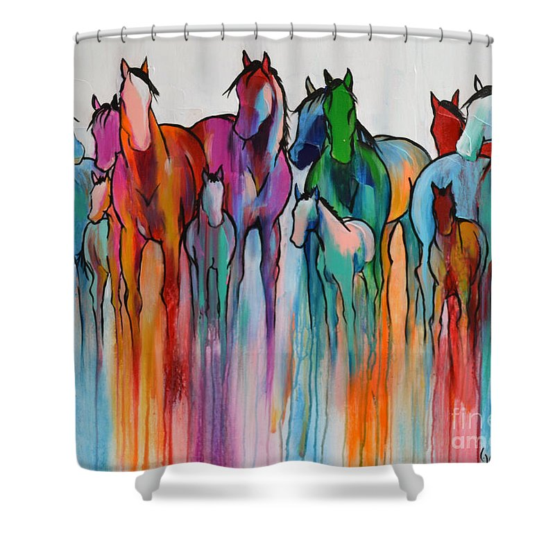 Horse Shower Curtain Featuring The Painting Rainbow Horses By Cher Devereaux