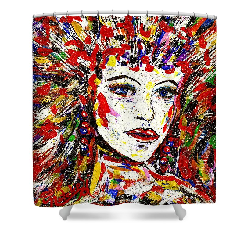 Abstract Art Shower Curtain featuring the painting Rainbow by Natalie Holland