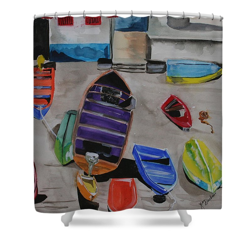Boats Shower Curtain featuring the painting Rainbow On The Dock by Jean Blackmer