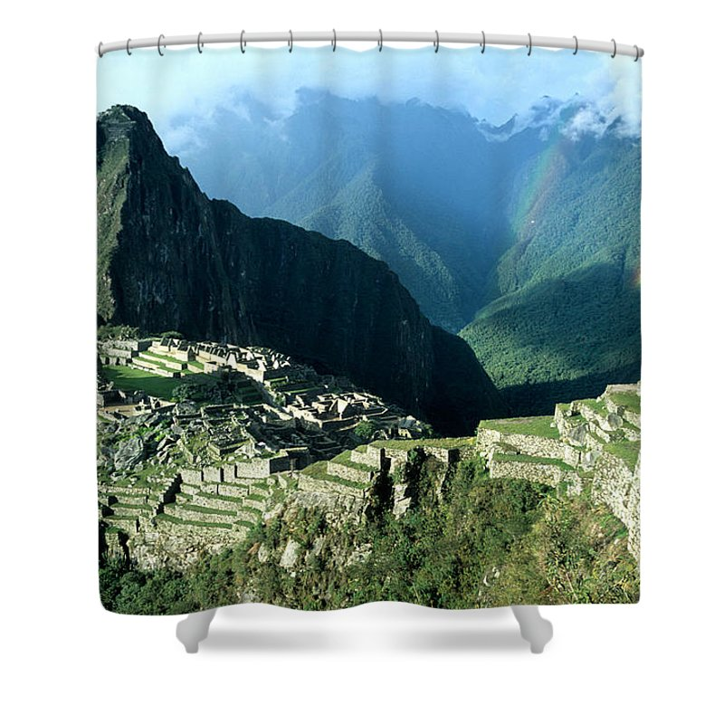 Machu Picchu Shower Curtain featuring the photograph Rainbow Over Machu Picchu by James Brunker