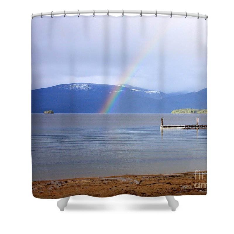 Rainbow Shower Curtain featuring the photograph Rainbow Over Priest Lake by Carol Groenen