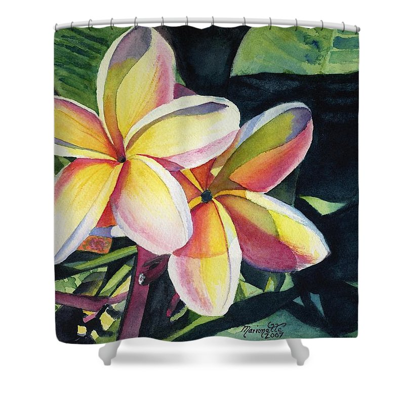 Rainbow Shower Curtain featuring the painting Rainbow Plumeria by Marionette Taboniar