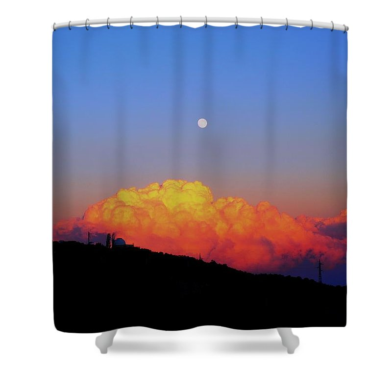Red Shower Curtain featuring the photograph Rainbow by Happy Home Artistry
