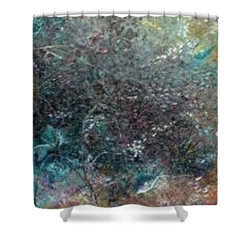 Original Abstract Painting Of Under The Sea Shower Curtain featuring the painting Rainbow Reef by Karin Dawn Kelshall- Best