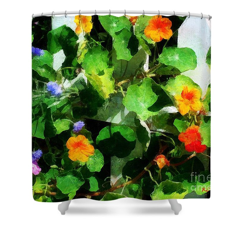 Garden Shower Curtain featuring the painting Rainbow Riot by RC DeWinter