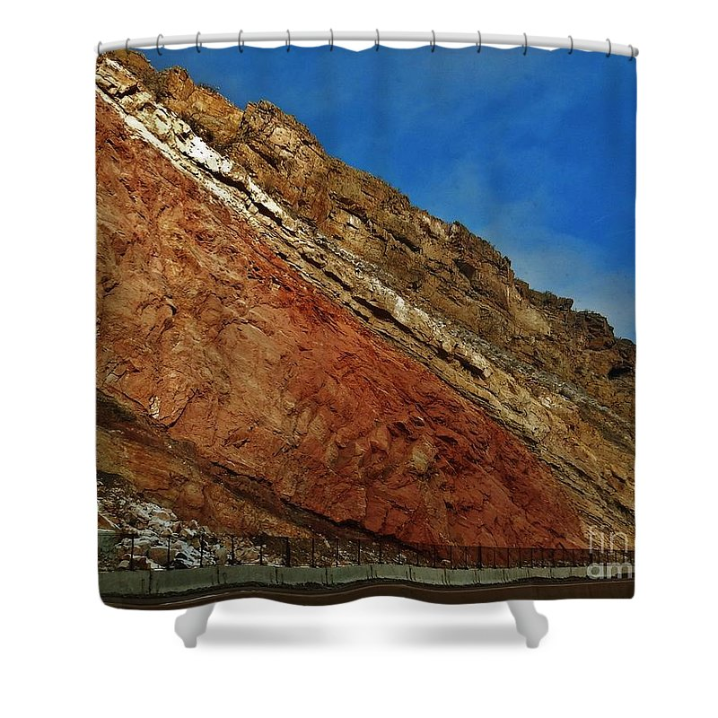 Snow Shower Curtain featuring the photograph Rainbow Rocks by CL Redding