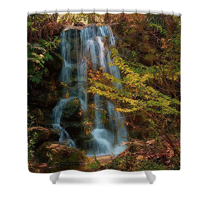Rainbow Springs Waterfall # Rainbow Springs# Tubing # State Park # Kayak # Camping # Dunnellon # Waterfall # Rainbow River #snorkeling�#swimming #the Rainbow River #florida#marion County # Shower Curtain featuring the photograph Rainbow Springs Waterfall by Louis Ferreira