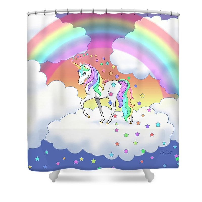 Rainbow Unicorn Clouds And Stars Shower Curtain For Sale By Crista Forest