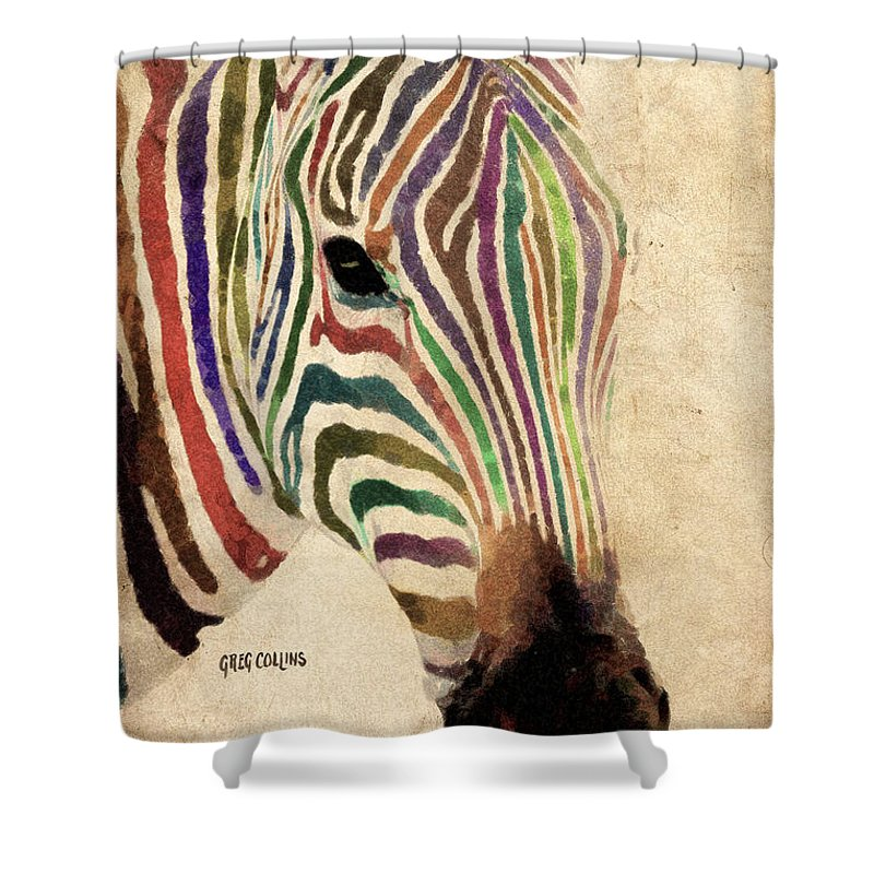Zebra Shower Curtain Featuring The Painting Rainbow By Greg Collins