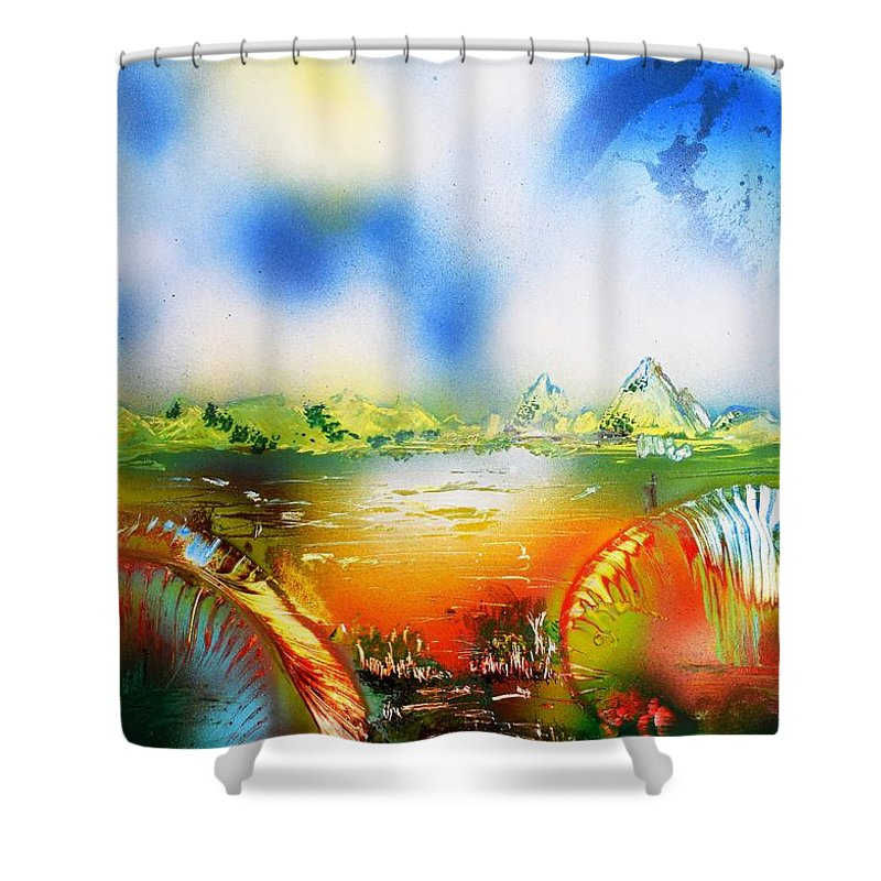 Fantasy Shower Curtain featuring the painting Rainbowland by Nandor Molnar