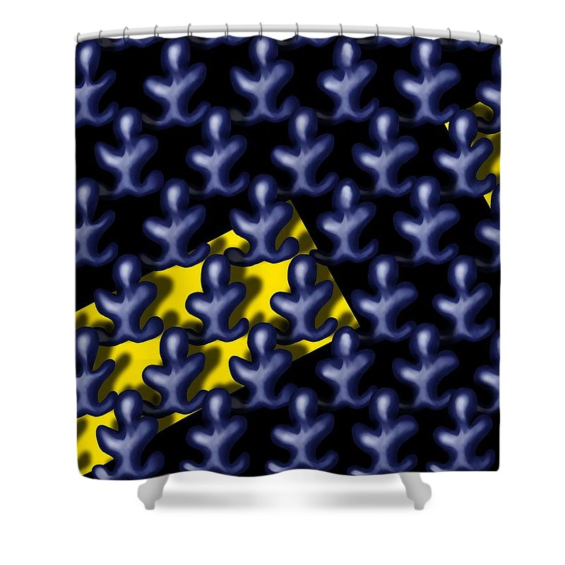 Surrealism Shower Curtain featuring the digital art Raindance III - March Of The Blue People by Robert Morin
