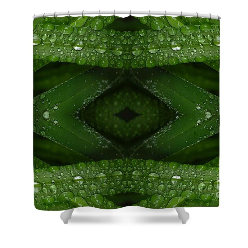 Nature Shower Curtain featuring the digital art Raindrops On Green Leaves Collage by Carol Groenen