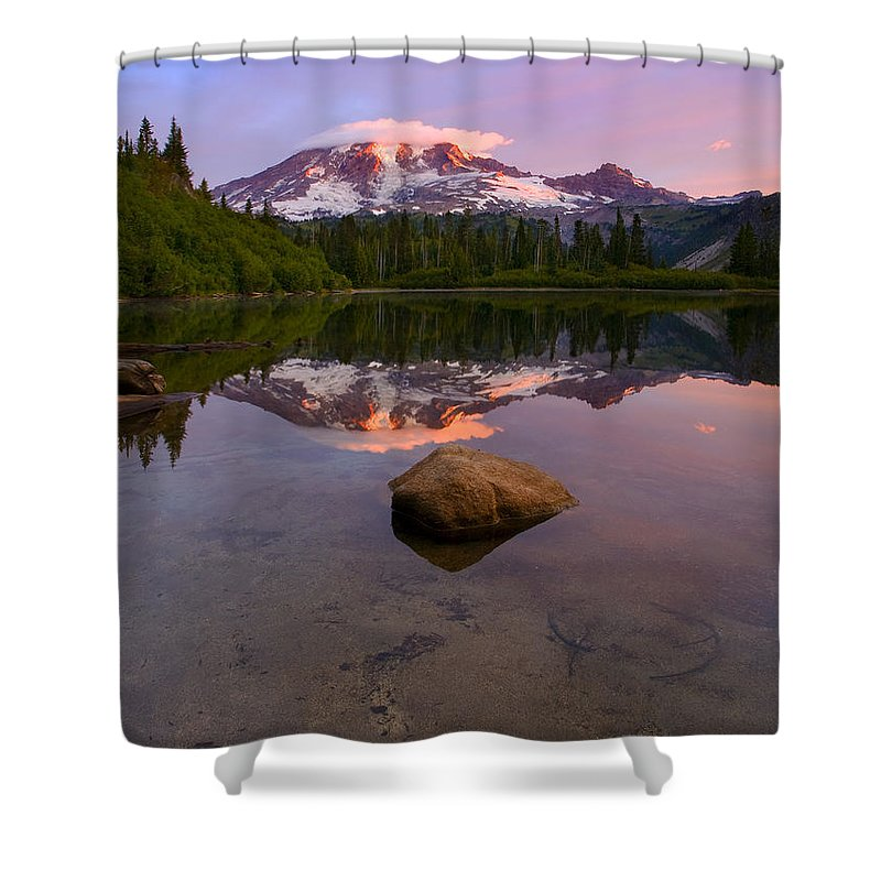 Mt. Rainier Shower Curtain featuring the photograph Rainier Dawn Breaking by Mike Dawson